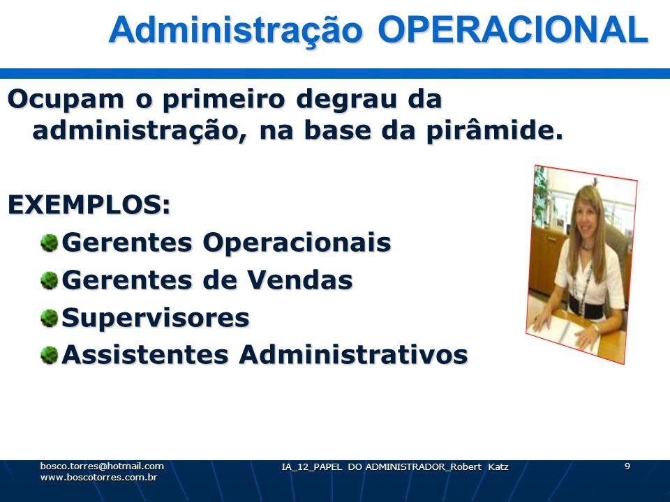 IA_12_PAPEL DO ADMINISTRADOR_Robert Katz 9 Administração OPERACIONAL Administração OPERACIONAL Ocupam o primeiro degrau da administração, na base da p