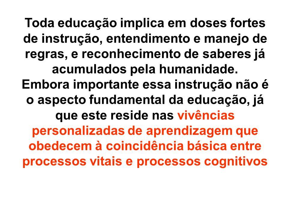 Toda educação implica em doses fortes de instrução, entendimento e manejo de regras, e reconhecimento de saberes já acumulados pela humanidade. Embora