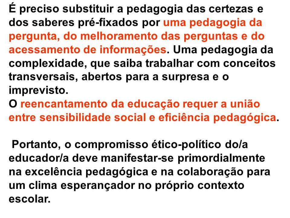 É preciso substituir a pedagogia das certezas e dos saberes pré-fixados por uma pedagogia da pergunta, do melhoramento das perguntas e do acessamento