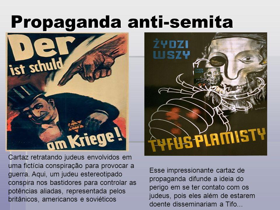 Propaganda anti-semita Cartaz retratando judeus envolvidos em uma fictícia conspiração para provocar a guerra. Aqui, um judeu estereotipado conspira n
