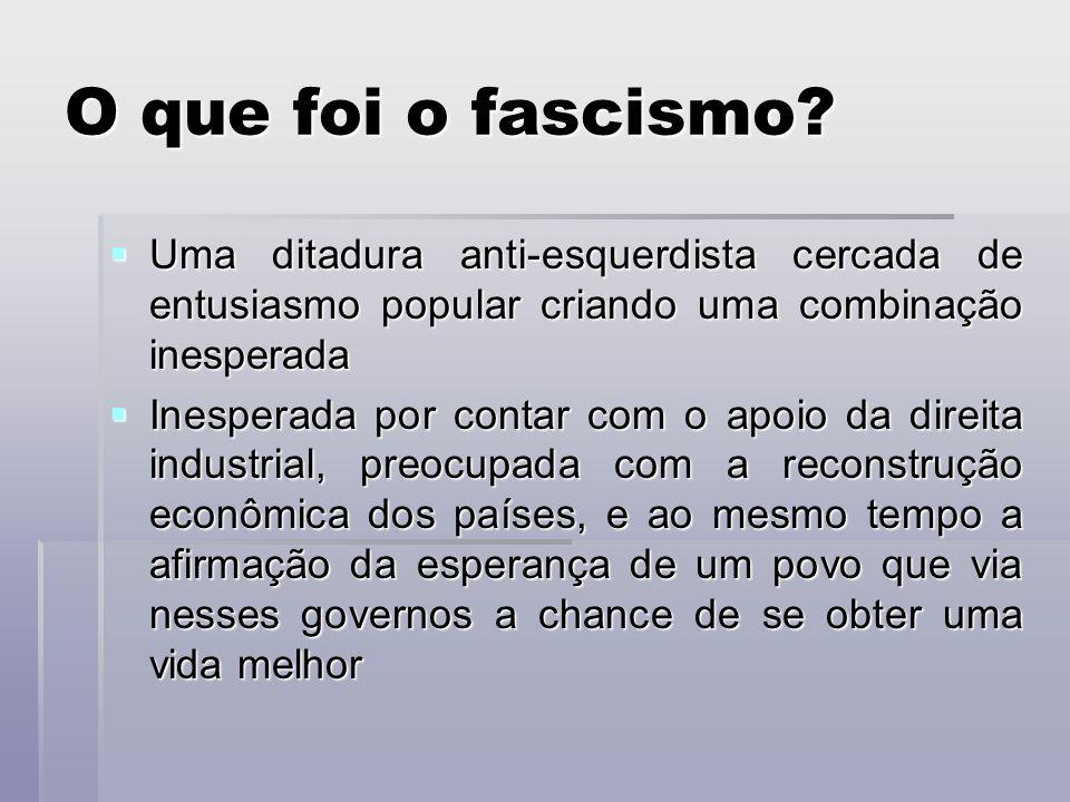 O que foi o fascismo? Uma ditadura anti-esquerdista cercada de entusiasmo popular criando uma combinação inesperada Uma ditadura anti-esquerdista cerc