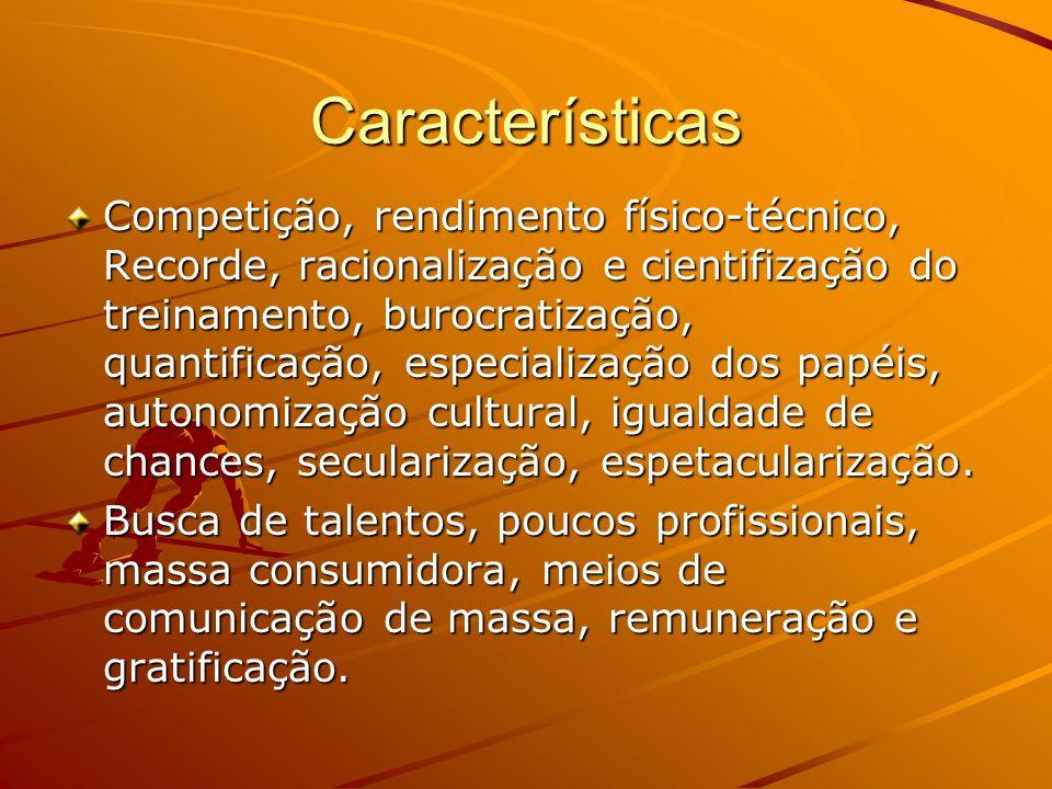 Características Competição, rendimento físico-técnico, Recorde, racionalização e cientifização do treinamento, burocratização, quantificação, especial