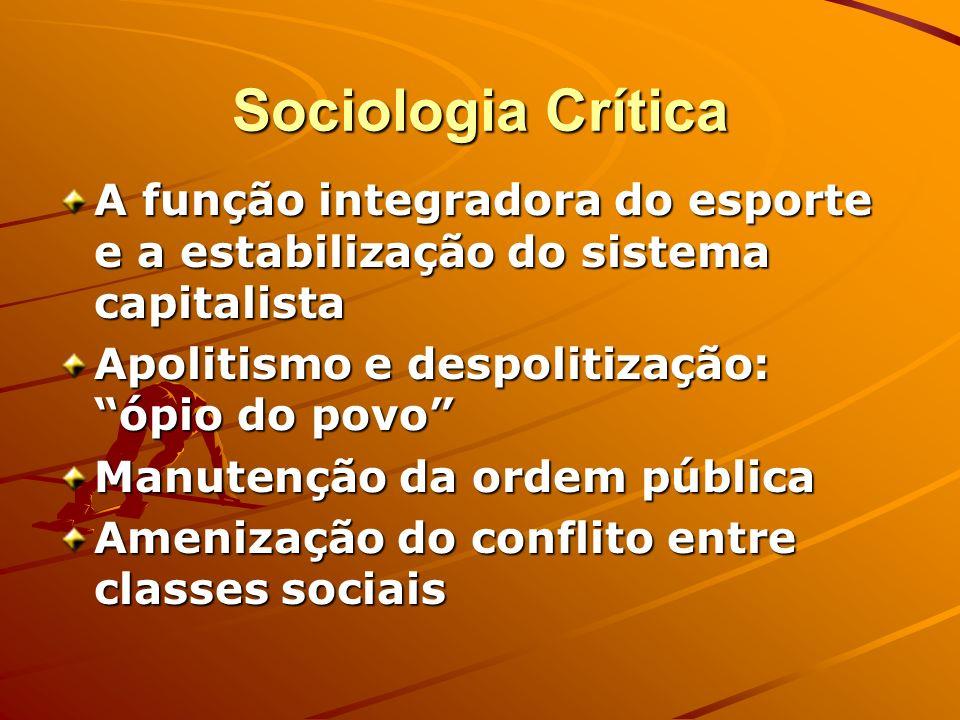 Sociologia Crítica A função integradora do esporte e a estabilização do sistema capitalista Apolitismo e despolitização: ópio do povo Manutenção da or