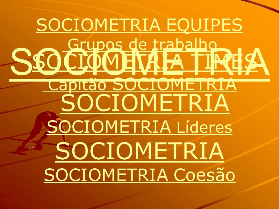 SOCIOMETRIA EQUIPES Grupos de trabalho SOCIOMETRIA TIMES Capitão SOCIOMETRIA Líderes SOCIOMETRIA SOCIOMETRIA Coesão SOCIOMETRIA