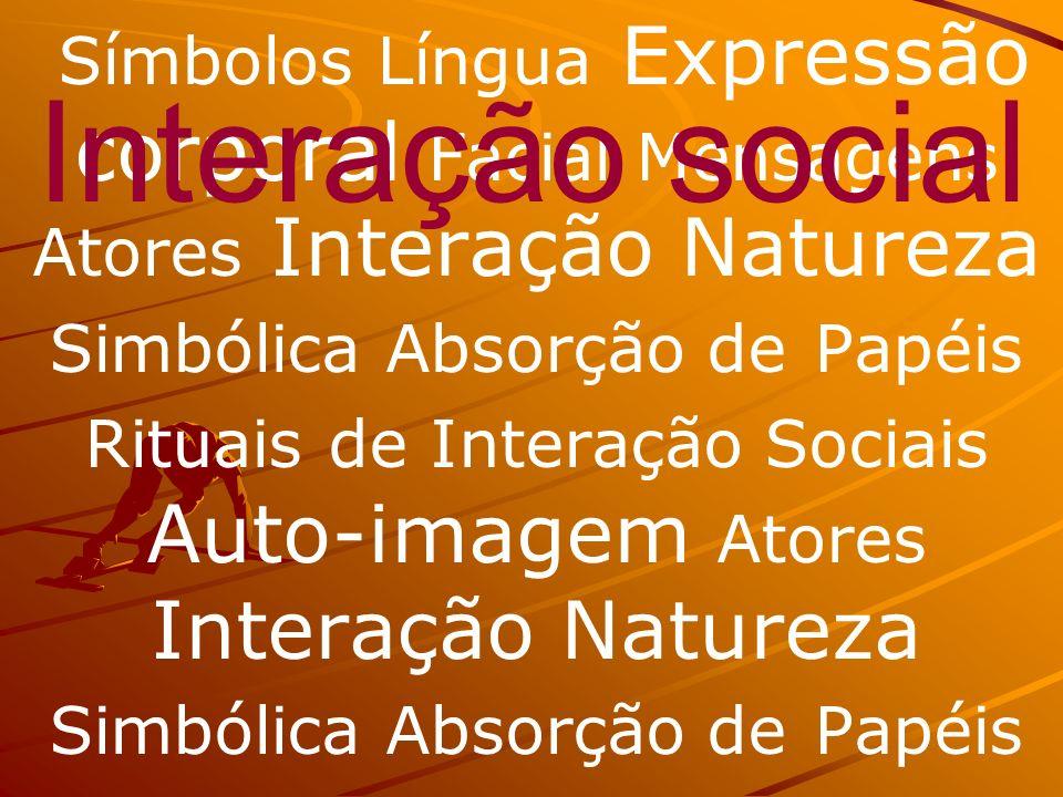 Símbolos Língua Expressão corporal Facial Mensagens Atores Interação Natureza Simbólica Absorção de Papéis Rituais de Interação Sociais Auto-imagem At
