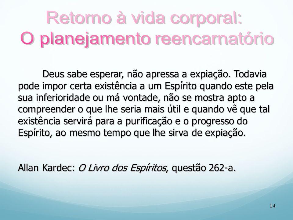 14 Deus sabe esperar, não apressa a expiação. Todavia pode impor certa existência a um Espírito quando este pela sua inferioridade ou má vontade, não
