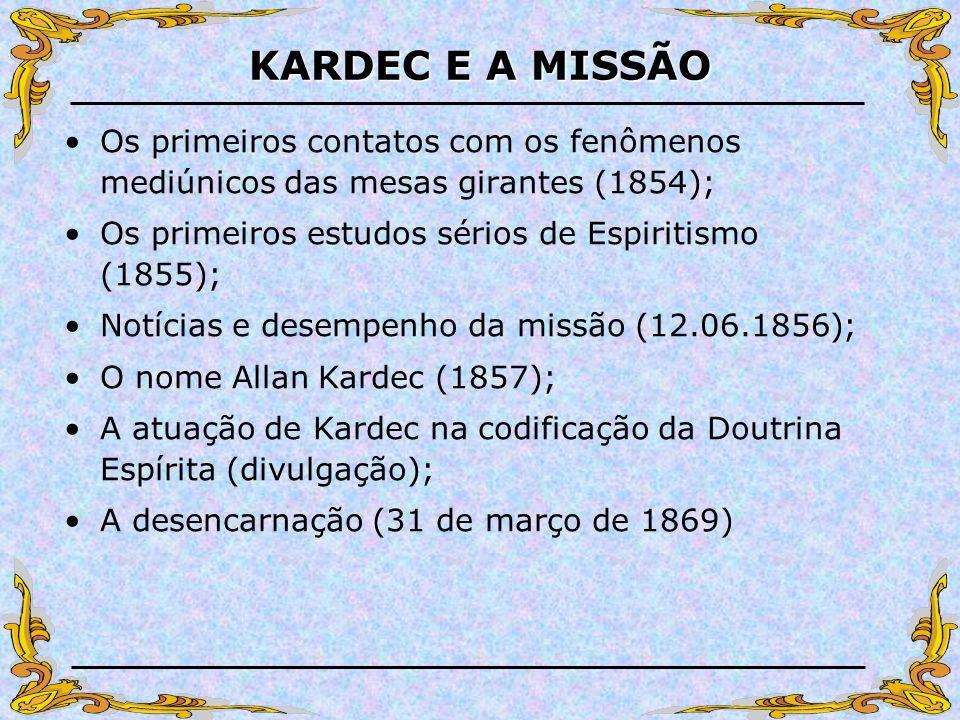 KARDEC E A MISSÃO Os primeiros contatos com os fenômenos mediúnicos das mesas girantes (1854); Os primeiros estudos sérios de Espiritismo (1855); Notí