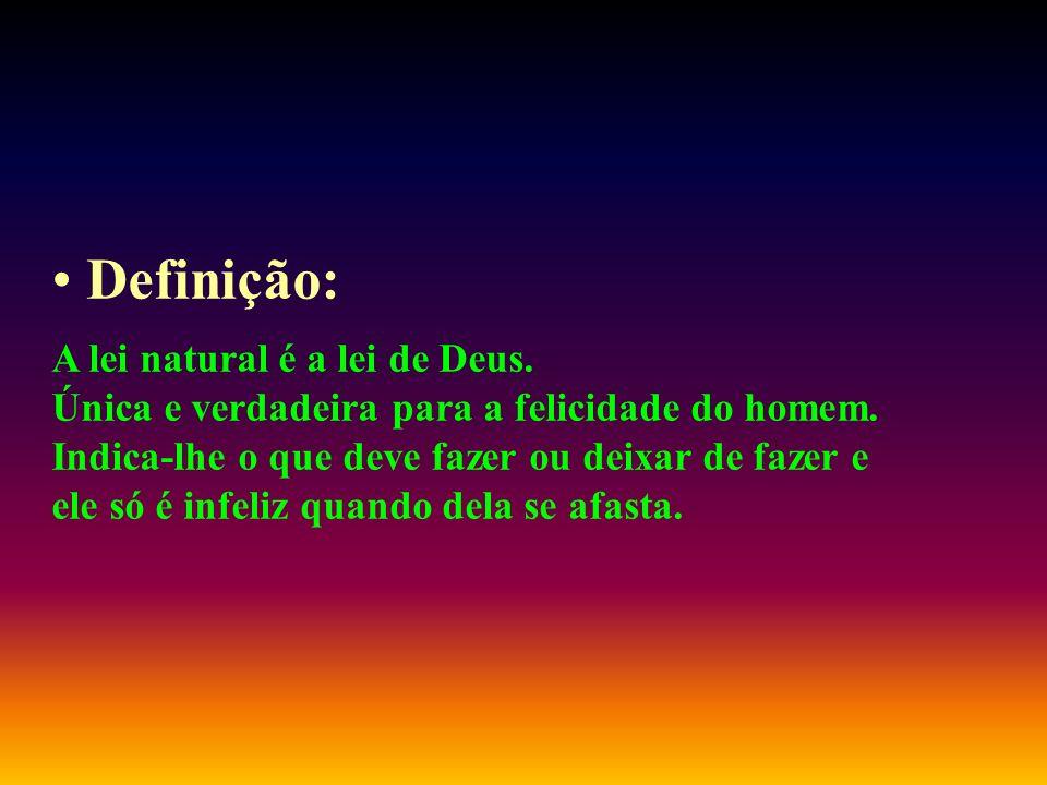 Definição: A lei natural é a lei de Deus.Única e verdadeira para a felicidade do homem.