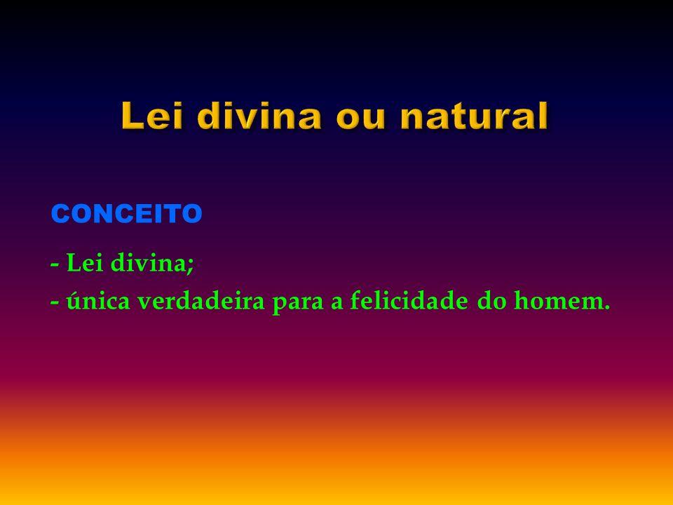 CONCEITO - Lei divina; - única verdadeira para a felicidade do homem.