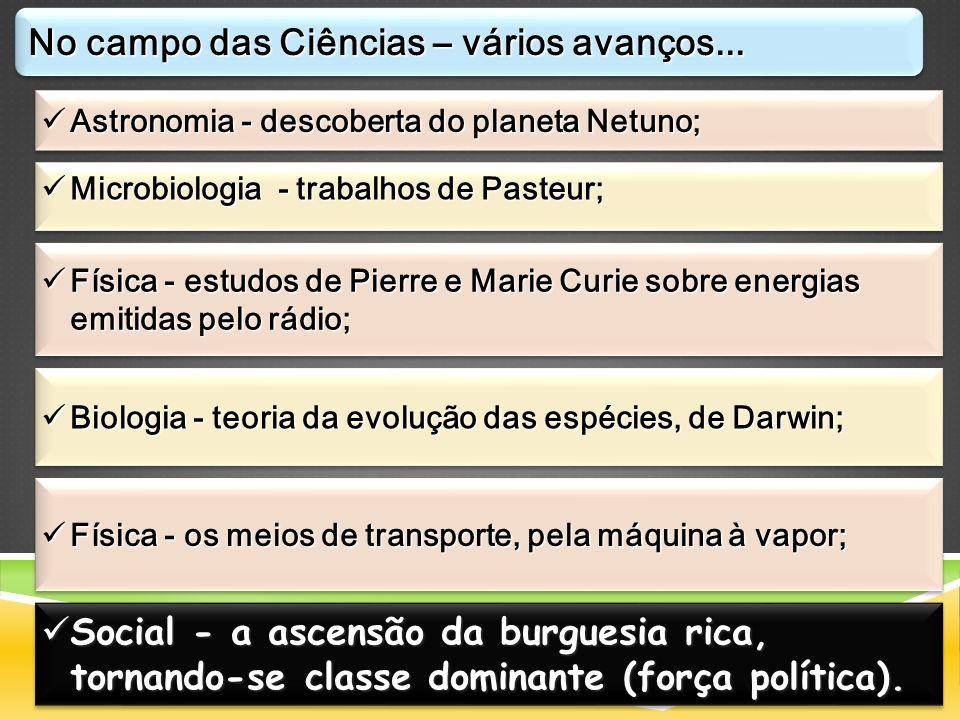 Astronomia - descoberta do planeta Netuno; Astronomia - descoberta do planeta Netuno; Microbiologia - trabalhos de Pasteur; Microbiologia - trabalhos
