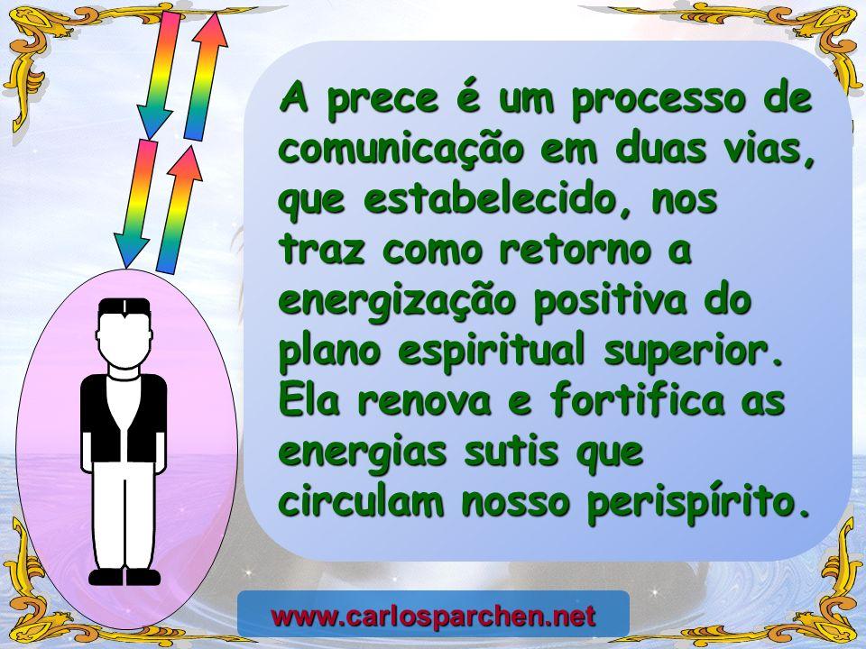 A prece é um processo de comunicação em duas vias, que estabelecido, nos traz como retorno a energização positiva do plano espiritual superior. Ela re