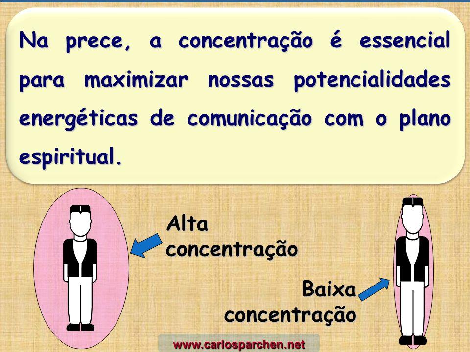 Na prece, a concentração é essencial para maximizar nossas potencialidades energéticas de comunicação com o plano espiritual. Alta concentração Baixa