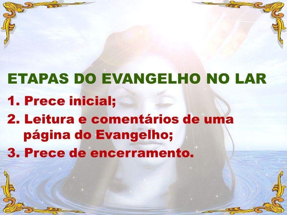 1. Prece inicial; 2. Leitura e comentários de uma página do Evangelho; 3. Prece de encerramento. ETAPAS DO EVANGELHO NO LAR