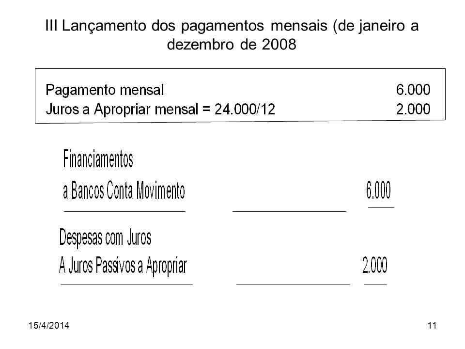 15/4/201411 III Lançamento dos pagamentos mensais (de janeiro a dezembro de 2008