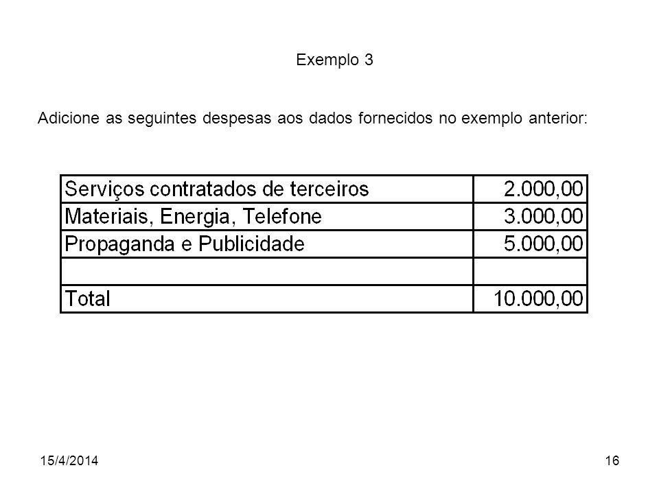 15/4/201416 Exemplo 3 Adicione as seguintes despesas aos dados fornecidos no exemplo anterior: