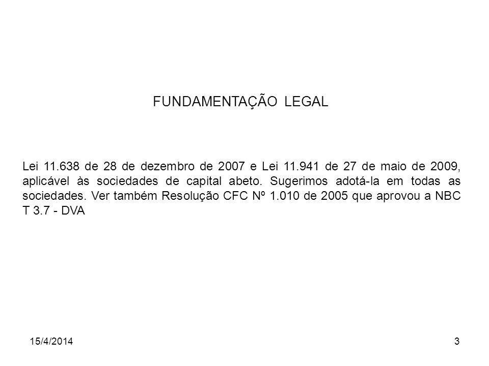 15/4/20143 FUNDAMENTAÇÃO LEGAL Lei 11.638 de 28 de dezembro de 2007 e Lei 11.941 de 27 de maio de 2009, aplicável às sociedades de capital abeto. Suge