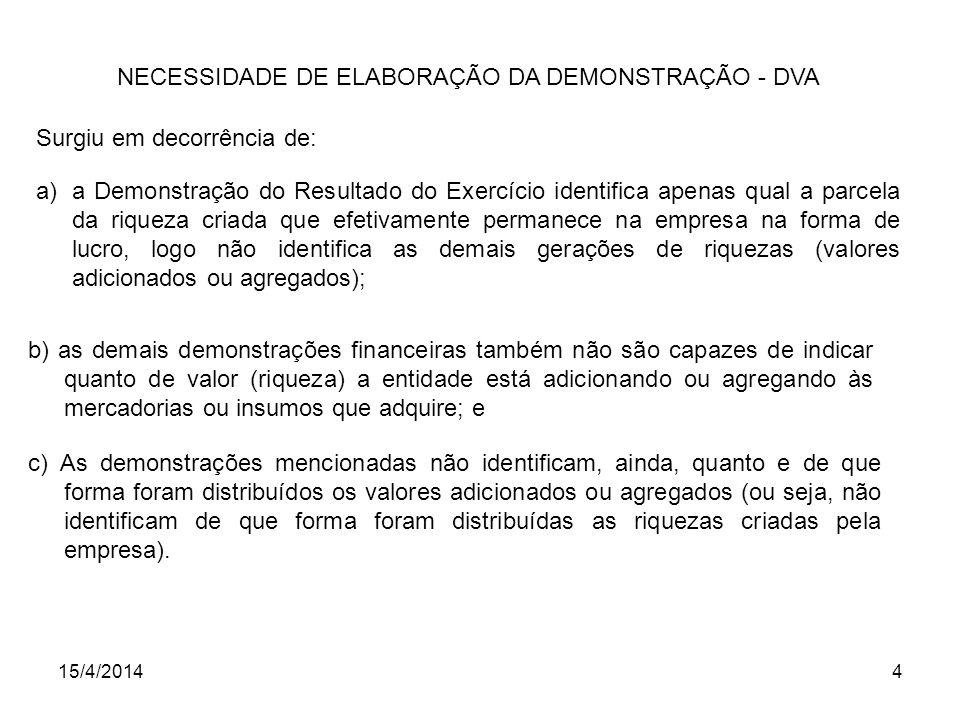 15/4/20144 NECESSIDADE DE ELABORAÇÃO DA DEMONSTRAÇÃO - DVA Surgiu em decorrência de: a)a Demonstração do Resultado do Exercício identifica apenas qual