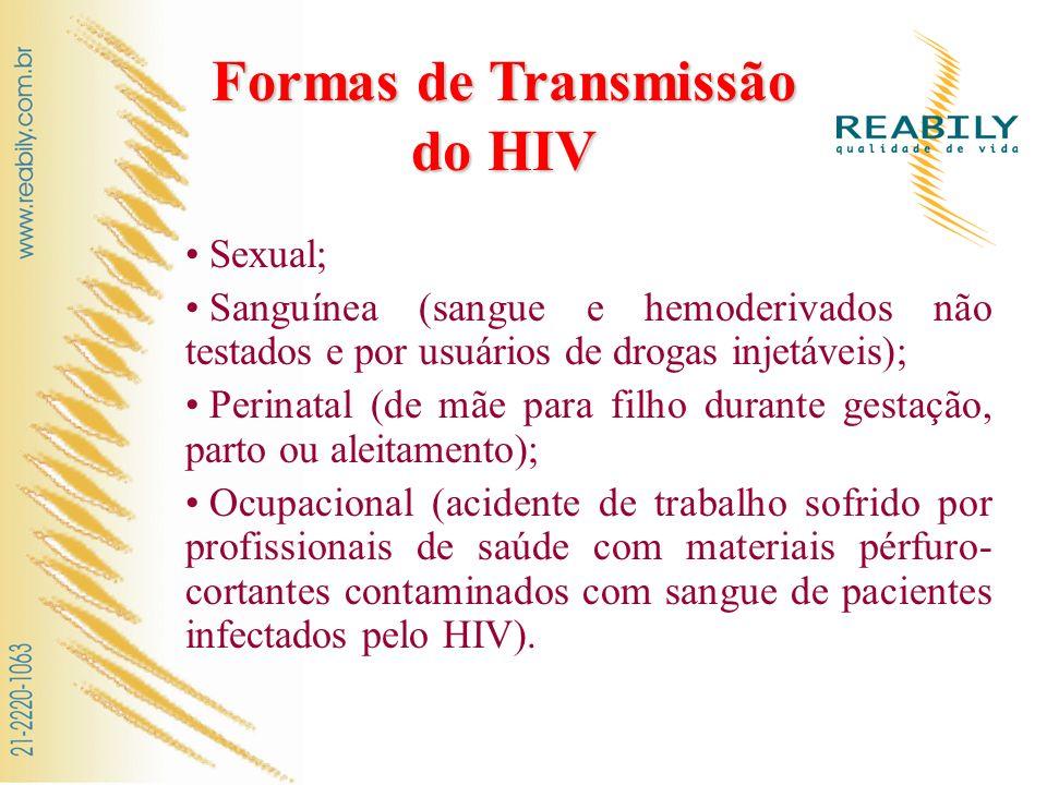 Formas de Transmissão do HIV Sexual; Sanguínea (sangue e hemoderivados não testados e por usuários de drogas injetáveis); Perinatal (de mãe para filho