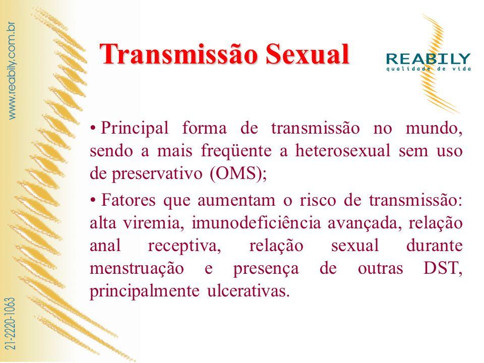 Transmissão Sexual Principal forma de transmissão no mundo, sendo a mais freqüente a heterosexual sem uso de preservativo (OMS); Fatores que aumentam
