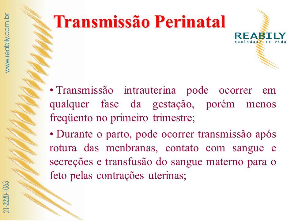 Transmissão Perinatal Transmissão intrauterina pode ocorrer em qualquer fase da gestação, porém menos freqüento no primeiro trimestre; Durante o parto