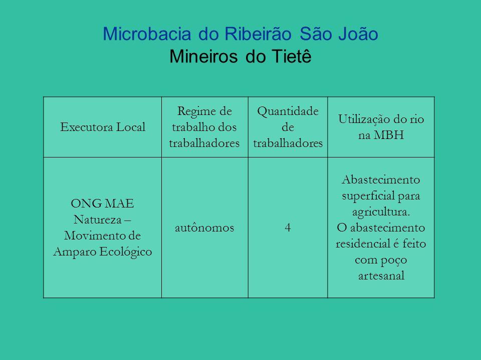 Microbacia do Ribeirão São João Mineiros do Tietê Ações do PRMC na Microbacia Nº de ProprietáriosQuantidade de áreas (ha)Valor ($) ContratadaExecutadaContratadaExecutadaContratadaExecutada 18 199.453,67
