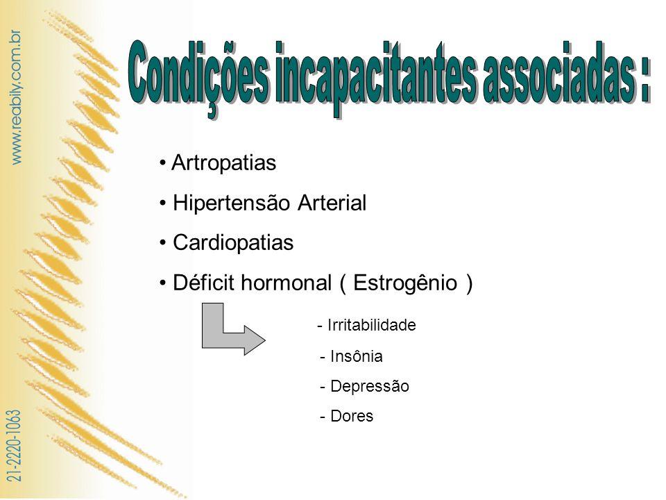 Artropatias Hipertensão Arterial Cardiopatias Déficit hormonal ( Estrogênio ) - Irritabilidade - Insônia - Depressão - Dores