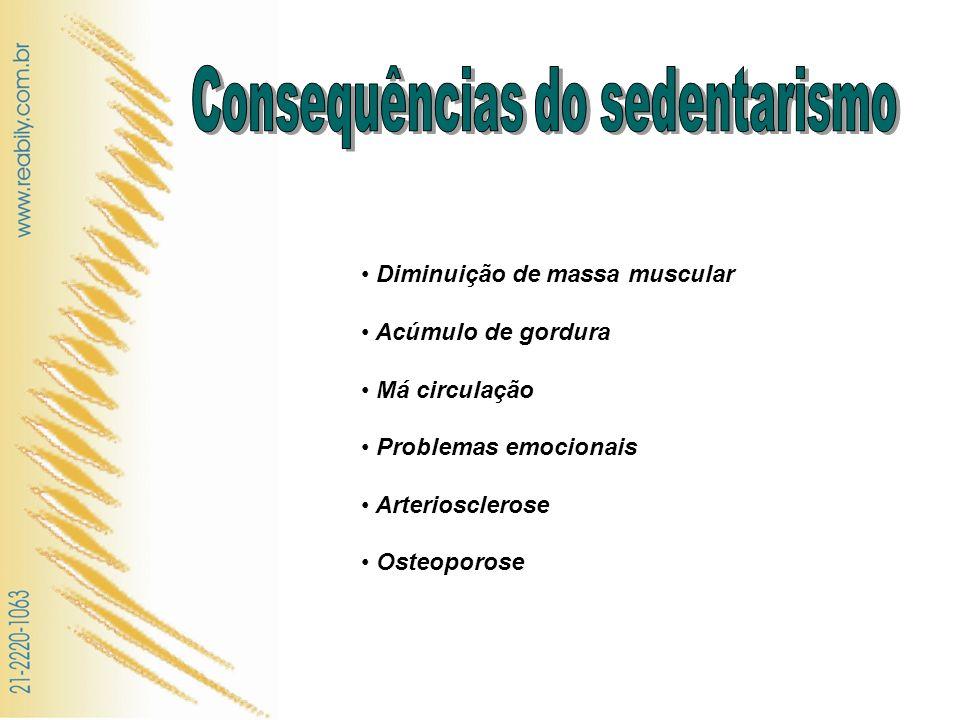 Diminuição de massa muscular Acúmulo de gordura Má circulação Problemas emocionais Arteriosclerose Osteoporose