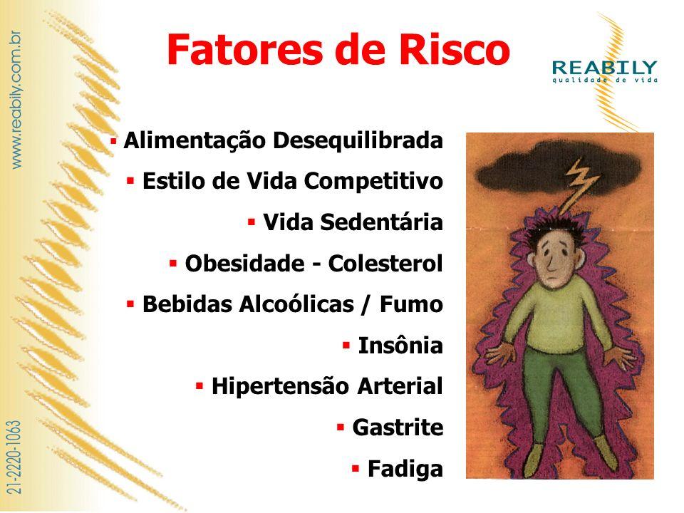 Fatores de Risco Alimentação Desequilibrada Estilo de Vida Competitivo Vida Sedentária Obesidade - Colesterol Bebidas Alcoólicas / Fumo Insônia Hipert
