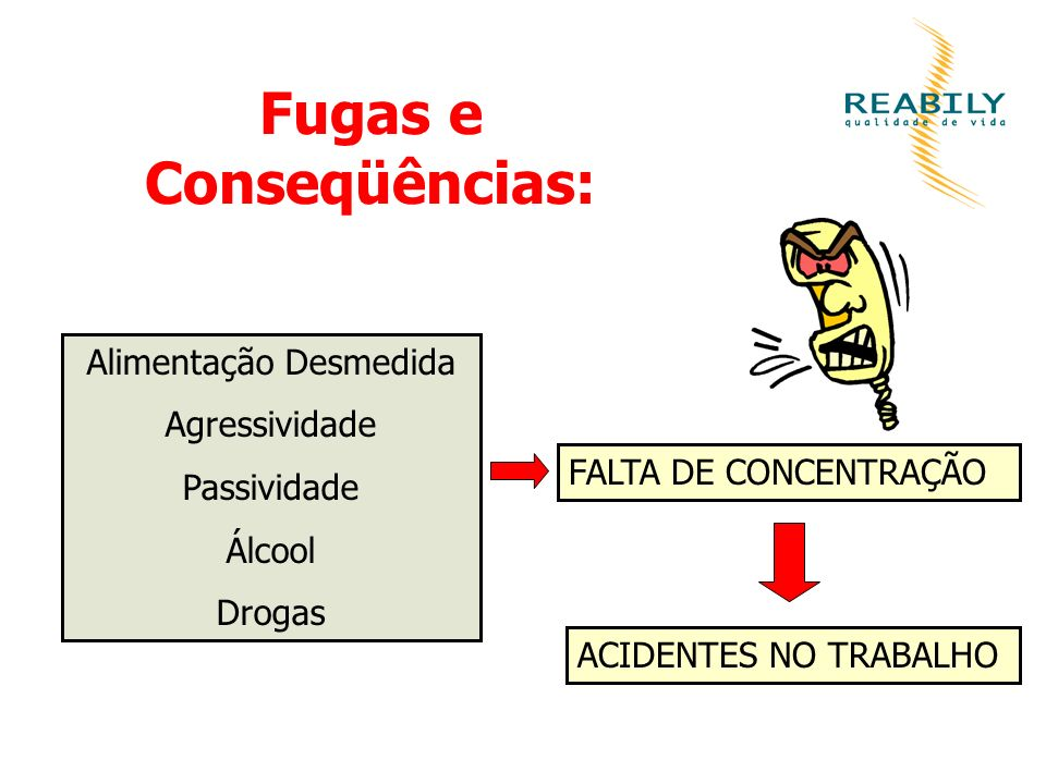Fugas e Conseqüências: Alimentação Desmedida Agressividade Passividade Álcool Drogas FALTA DE CONCENTRAÇÃO ACIDENTES NO TRABALHO