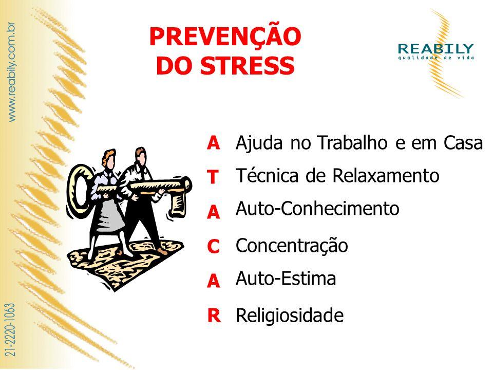 PREVENÇÃO DO STRESS Religiosidade ATACARATACAR Ajuda no Trabalho e em Casa Técnica de Relaxamento Auto-Conhecimento Concentração Auto-Estima