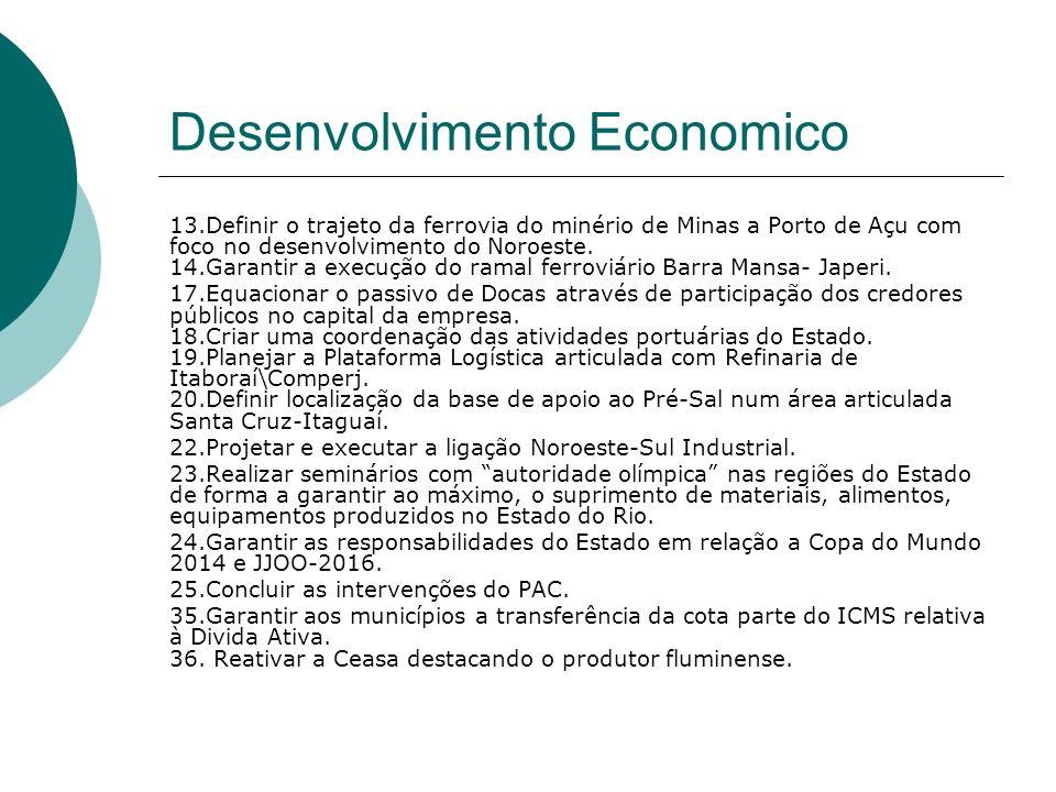 Desenvolvimento Economico 13.Definir o trajeto da ferrovia do minério de Minas a Porto de Açu com foco no desenvolvimento do Noroeste. 14.Garantir a e