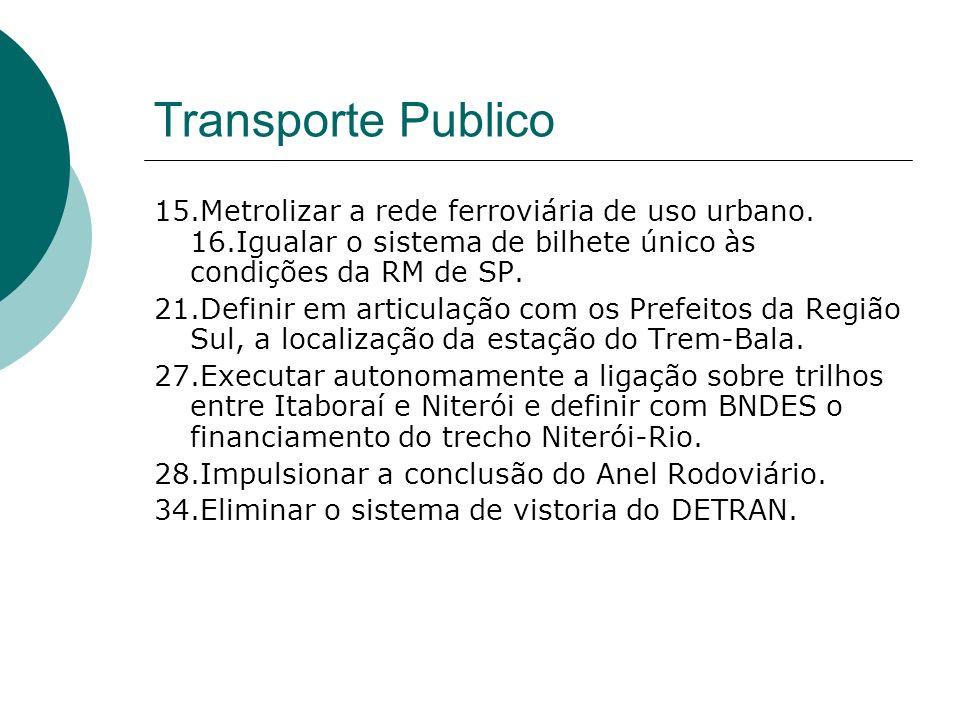 Transporte Publico 15.Metrolizar a rede ferroviária de uso urbano. 16.Igualar o sistema de bilhete único às condições da RM de SP. 21.Definir em artic