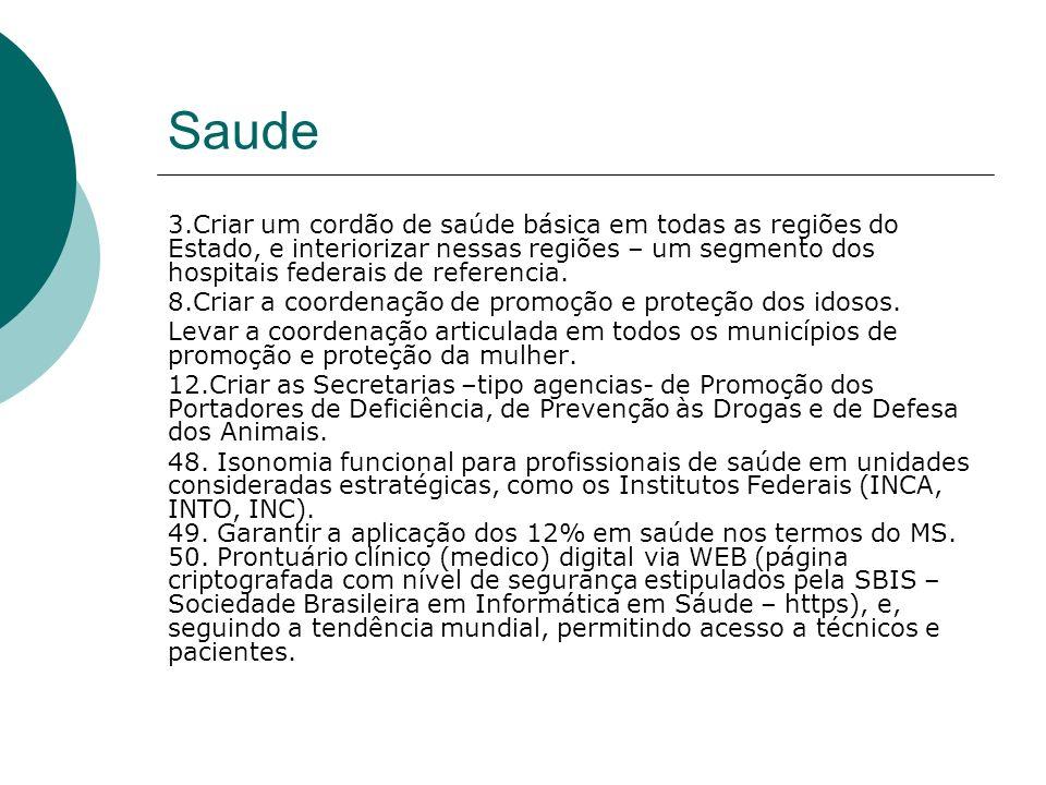 Administracao Publica 4.Igualar as condições remuneratórias e direitos, do servidor estadual, ao servidor da Prefeitura do Rio.
