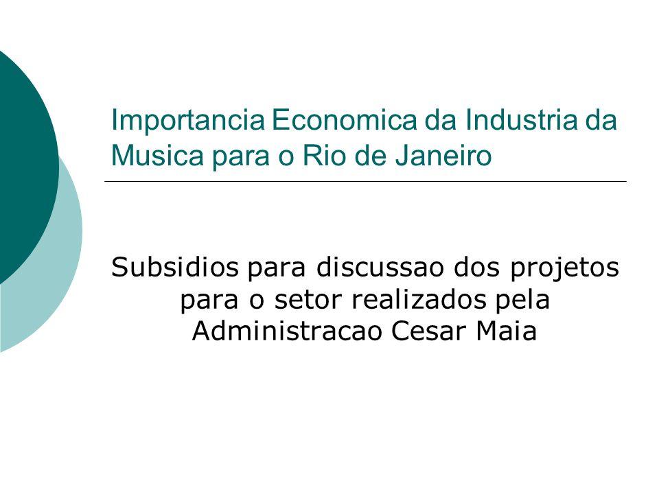 Objetivo O objetivo desta apresentacao eh fornecer dados para a apreciacao do impacto economico da Musica e investimentos na area feitos pela Administracao Cesar Maia.