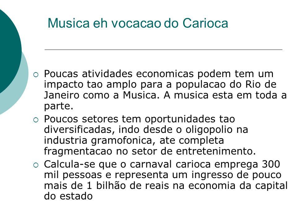 Musica eh vocacao do Carioca Poucas atividades economicas podem tem um impacto tao amplo para a populacao do Rio de Janeiro como a Musica. A musica es