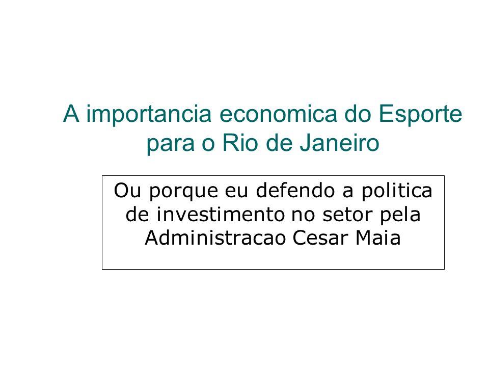 A importancia economica do Esporte para o Rio de Janeiro Ou porque eu defendo a politica de investimento no setor pela Administracao Cesar Maia