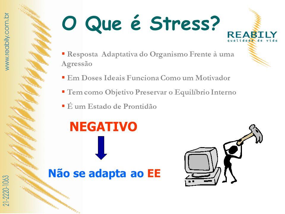 O Que é Stress? Resposta Adaptativa do Organismo Frente à uma Agressão Em Doses Ideais Funciona Como um Motivador Tem como Objetivo Preservar o Equilí