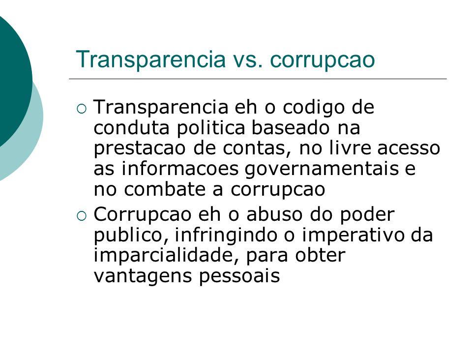 Transparencia vs. corrupcao Transparencia eh o codigo de conduta politica baseado na prestacao de contas, no livre acesso as informacoes governamentai