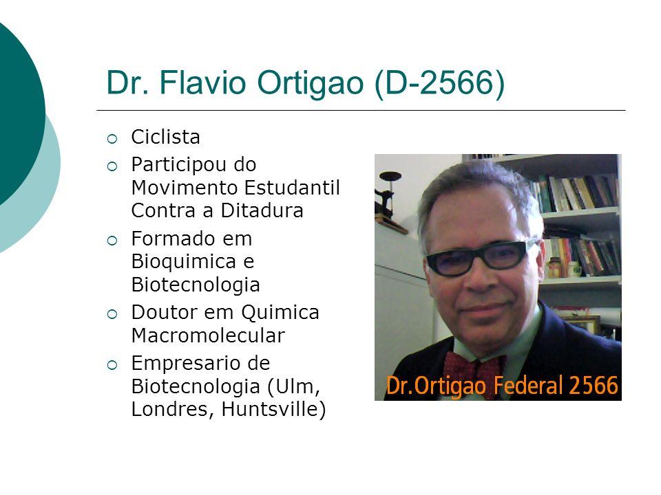 Dr. Flavio Ortigao (D-2566) Ciclista Participou do Movimento Estudantil Contra a Ditadura Formado em Bioquimica e Biotecnologia Doutor em Quimica Macr