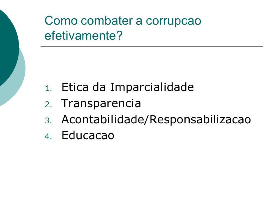 Como combater a corrupcao efetivamente? 1. Etica da Imparcialidade 2. Transparencia 3. Acontabilidade/Responsabilizacao 4. Educacao
