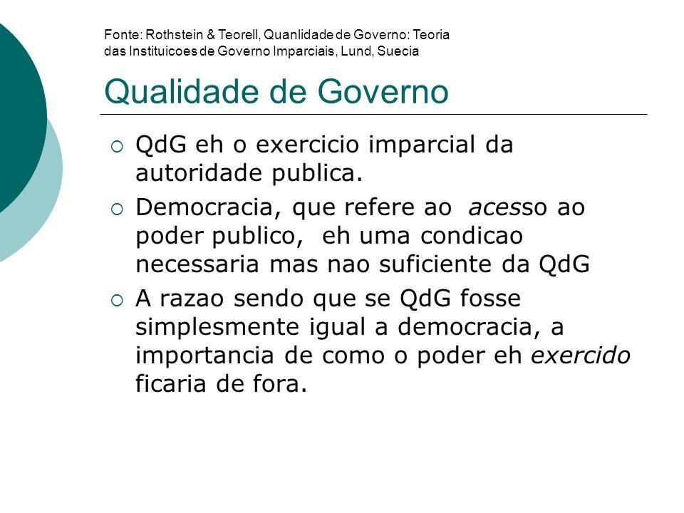 Qualidade de Governo QdG eh o exercicio imparcial da autoridade publica. Democracia, que refere ao acesso ao poder publico, eh uma condicao necessaria