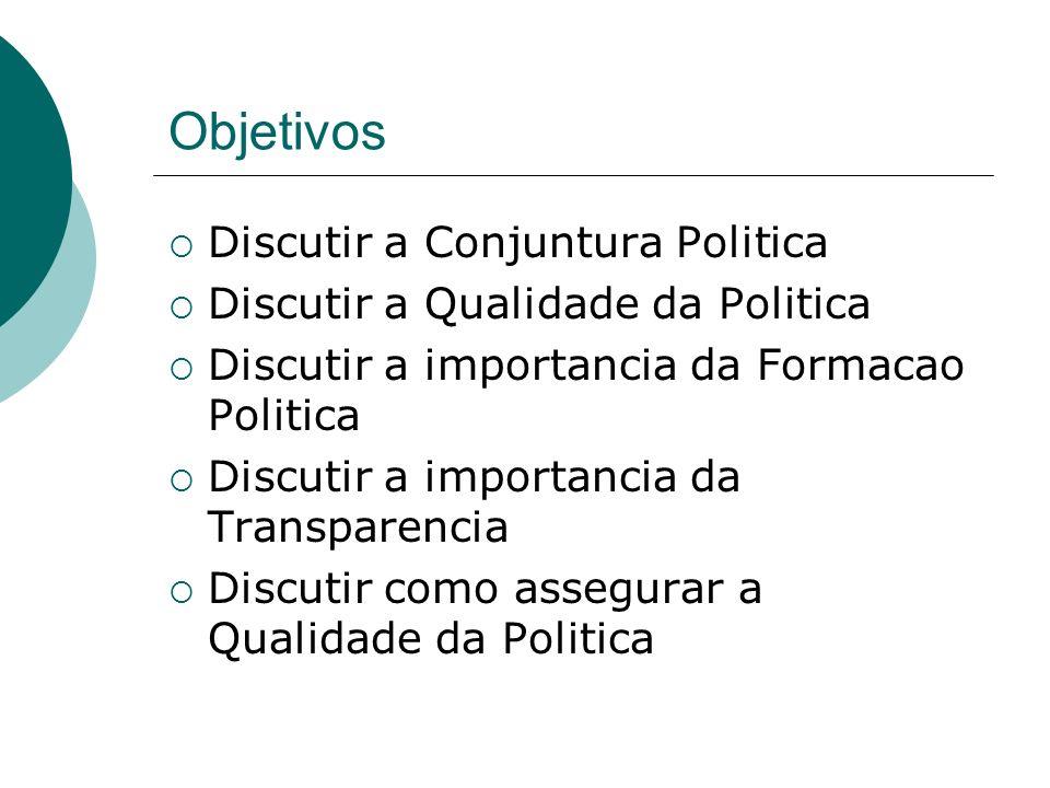Objetivos Discutir a Conjuntura Politica Discutir a Qualidade da Politica Discutir a importancia da Formacao Politica Discutir a importancia da Transp