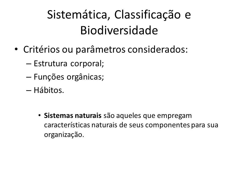 Critérios ou parâmetros considerados: – Estrutura corporal; – Funções orgânicas; – Hábitos. Sistemas naturais são aqueles que empregam características