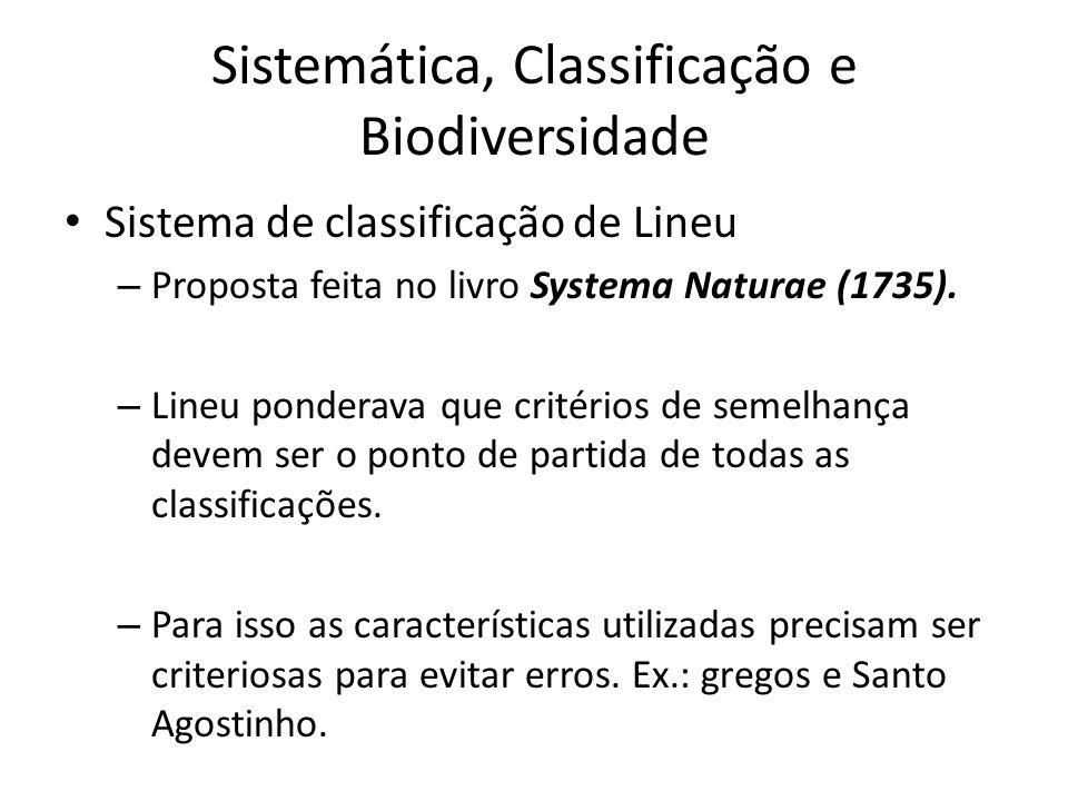 Sistema de classificação de Lineu – Proposta feita no livro Systema Naturae (1735). – Lineu ponderava que critérios de semelhança devem ser o ponto de