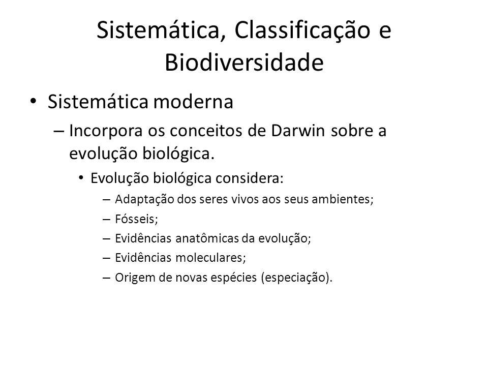 Sistemática moderna – Incorpora os conceitos de Darwin sobre a evolução biológica. Evolução biológica considera: – Adaptação dos seres vivos aos seus