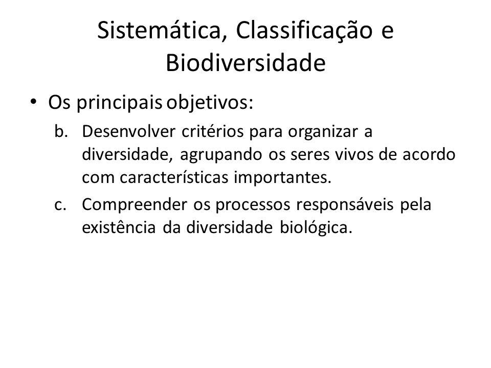 Os principais objetivos: b.Desenvolver critérios para organizar a diversidade, agrupando os seres vivos de acordo com características importantes. c.C