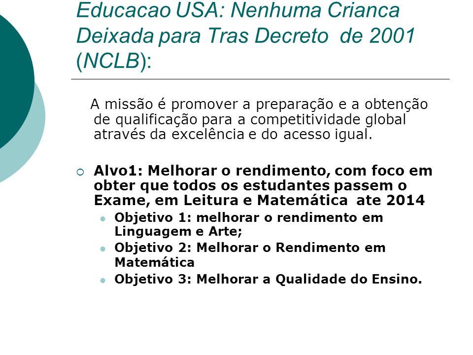 Educacao USA: Nenhuma Crianca Deixada para Tras Decreto de 2001 (NCLB): A missão é promover a preparação e a obtenção de qualificação para a competitividade global através da excelência e do acesso igual.