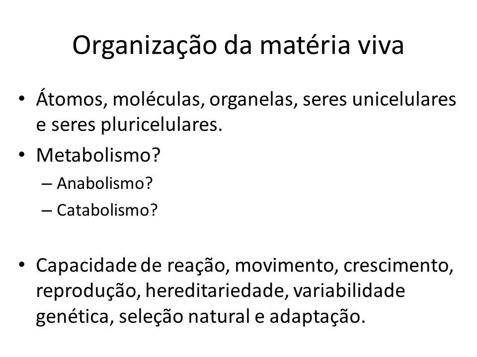 Organização da matéria viva Átomos, moléculas, organelas, seres unicelulares e seres pluricelulares. Metabolismo? – Anabolismo? – Catabolismo? Capacid