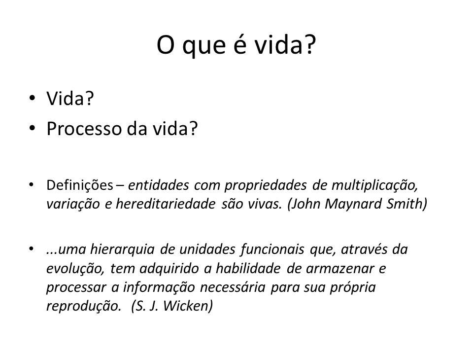 Vida? Processo da vida? Definições – entidades com propriedades de multiplicação, variação e hereditariedade são vivas. (John Maynard Smith)...uma hie