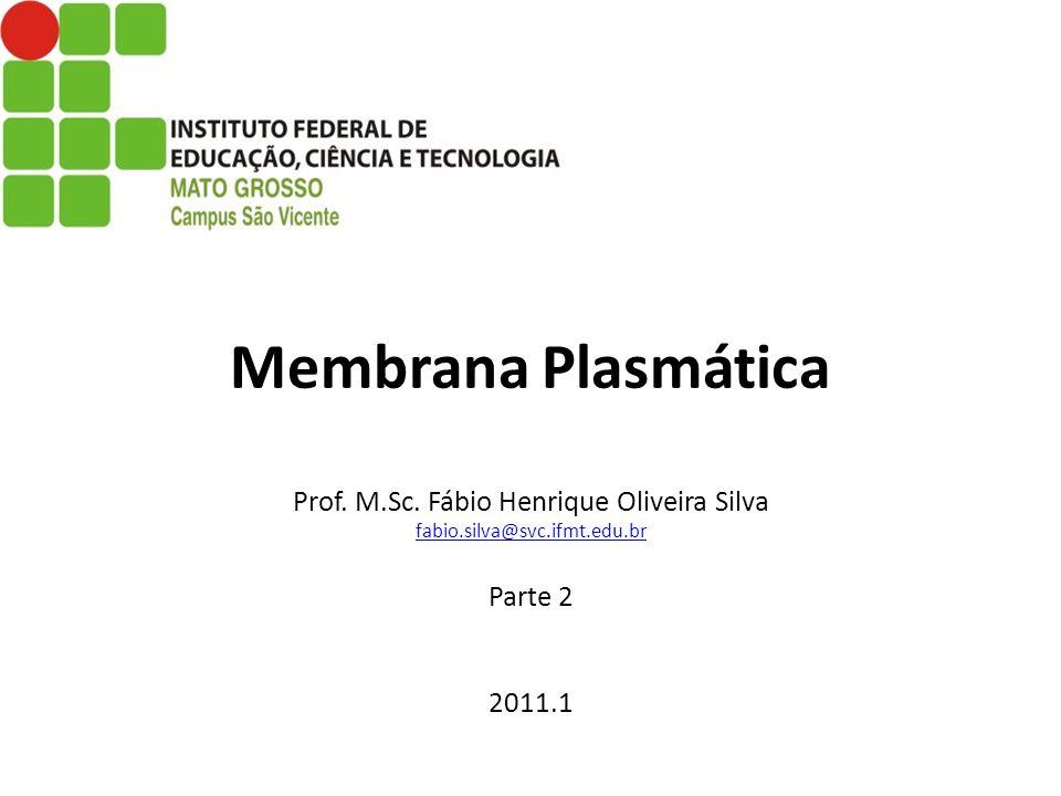 Membrana Plasmática Prof. M.Sc. Fábio Henrique Oliveira Silva fabio.silva@svc.ifmt.edu.br Parte 2 2011.1 fabio.silva@svc.ifmt.edu.br